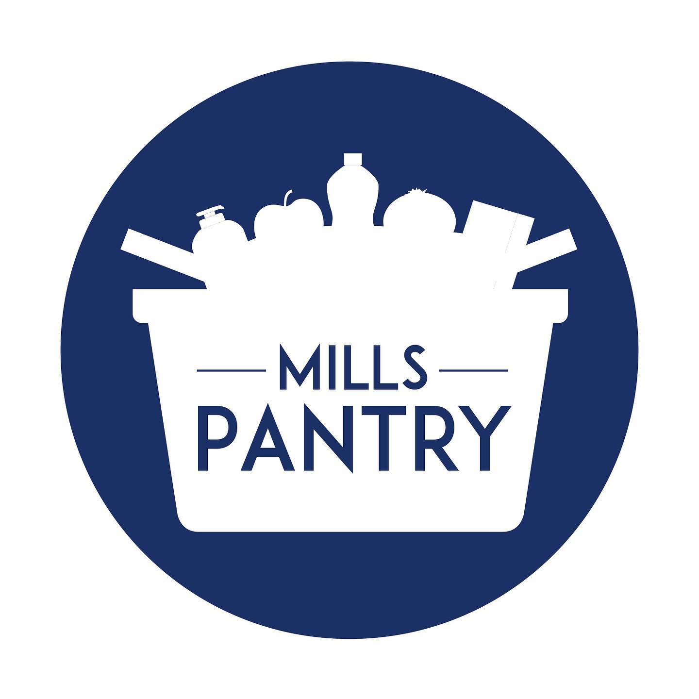 Mills Pantry text in blue, in white basket surrounded by blue circle.