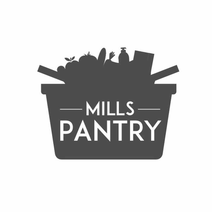 Mills Pantry alternative logo with text in basket of home goods.