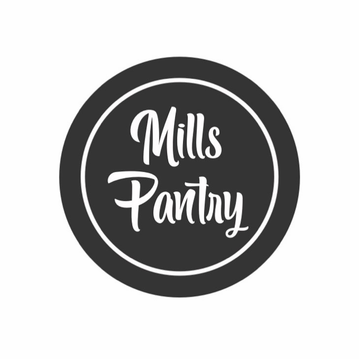 Mills Pantry alt logo. White text in two circles of black and white.