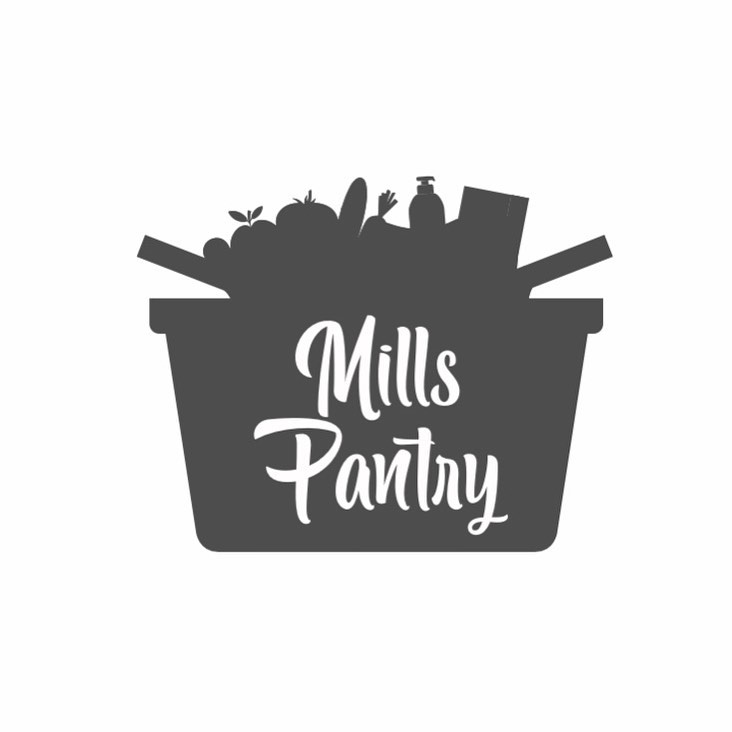An image of the Mills Pantry logo that has the text in a basket of home goods.